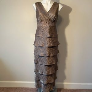 R&M Richards Bronze Fitted Sequined Evening Dress